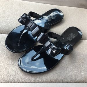 Coach jelly sandals black bow size 7